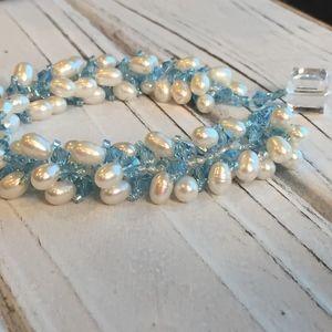 Jewelry - Cascade of Swarovski Crystals/Pearl Bracelet